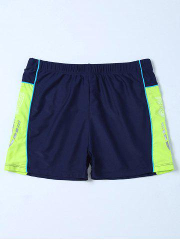 Buy Elastic Waist Contrast Panel Swim Boyshorts - 4XL PURPLISH BLUE Mobile