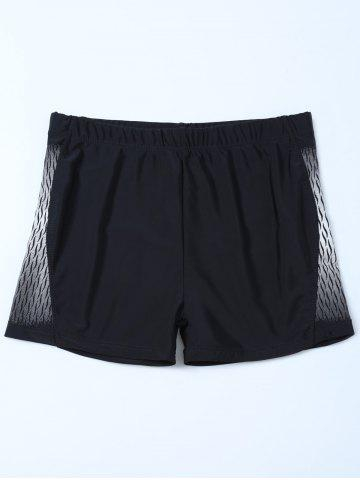 Latest Elastic Waist Printed Swim Boyshorts BLACK 4XL