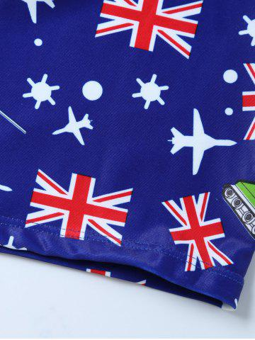 Cheap Flag Print Swim Boyshorts with Hat - L BLUE Mobile