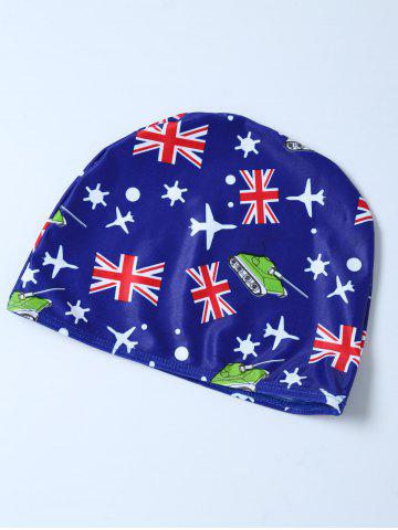 Fancy Flag Print Swim Boyshorts with Hat - L BLUE Mobile