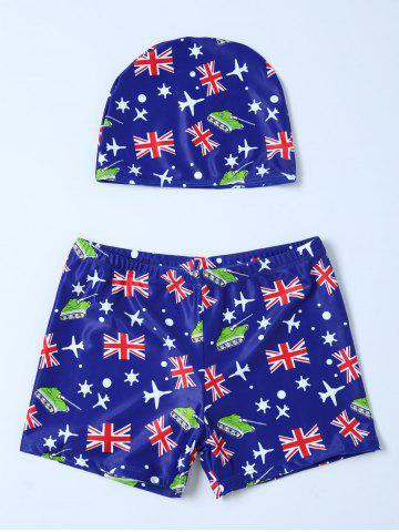 Discount Flag Print Swim Boyshorts with Hat - L BLUE Mobile