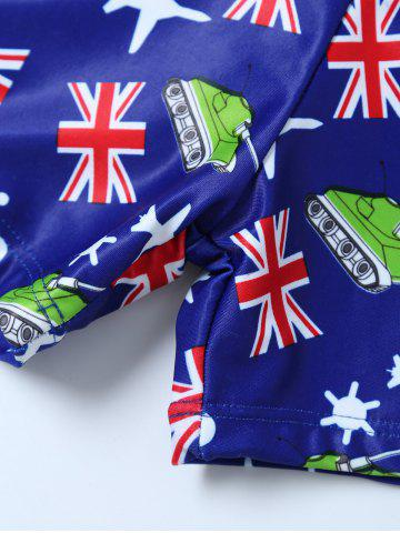 Outfit Flag Print Swim Boyshorts with Hat - L BLUE Mobile