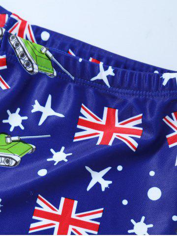 Best Flag Print Swim Boyshorts with Hat - L BLUE Mobile