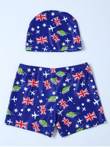 Affordable Flag Print Swim Boyshorts with Hat - L BLUE Mobile