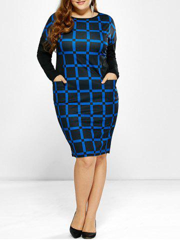 Fancy Plus Size Long Sleeve Plaid Dress with Pockets BLUE 6XL