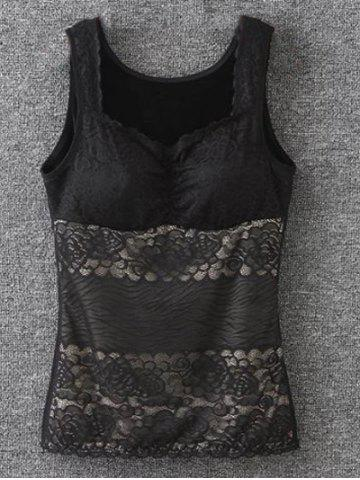 Outfits Lace Trim Fleece Fitted Tank Top