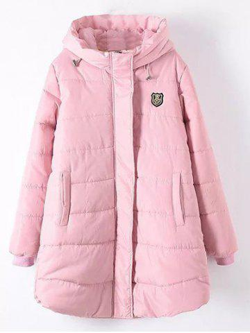 Plus Size Appliqued Hooded Padded Quilted Coat - Shallow Pink - 2xl