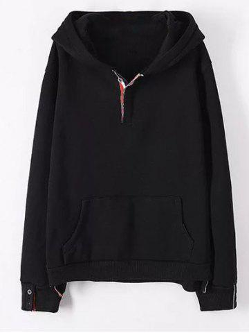 Cheap Plus Size Kangaroo Pocket Button Decorated Hoodie