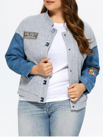Buy Plus Size Single Breasted Denim Trim Jacket GRAY 3XL
