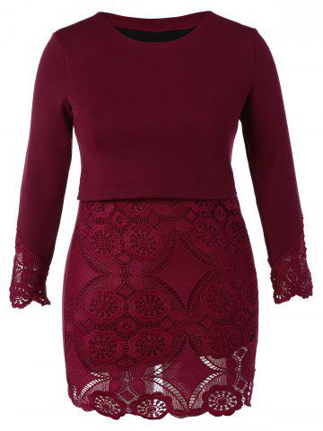Shop Plus Size Lace Insert Long Sleeve Dress WINE RED 5XL