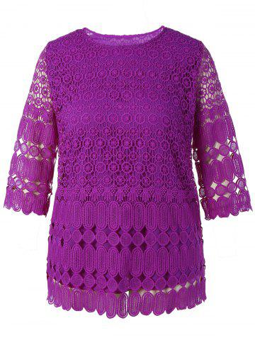 Best Plus Size Openwork Lace Top
