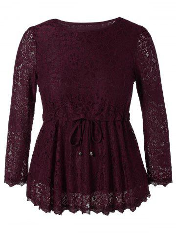 Chic Plus Size Drawstring Lace Top