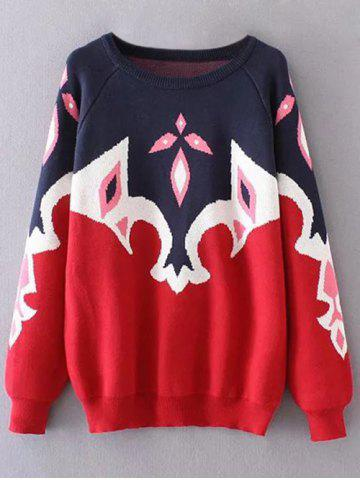 Unique Color Block Plus Size Tribal Sweater - 3XL BLUE AND RED Mobile