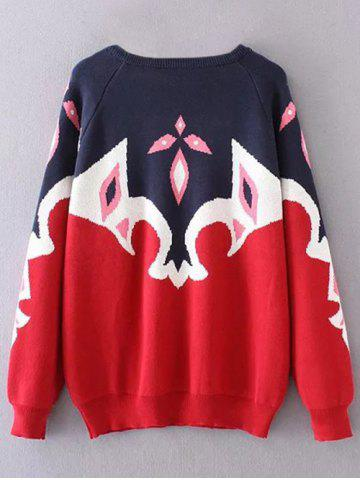 Online Color Block Plus Size Tribal Sweater - 3XL BLUE AND RED Mobile