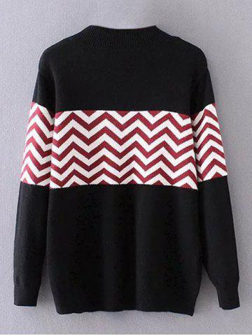 Outfits Plus Size Pullover Wave Striped Crew Neck Sweater - 3XL BLACK Mobile