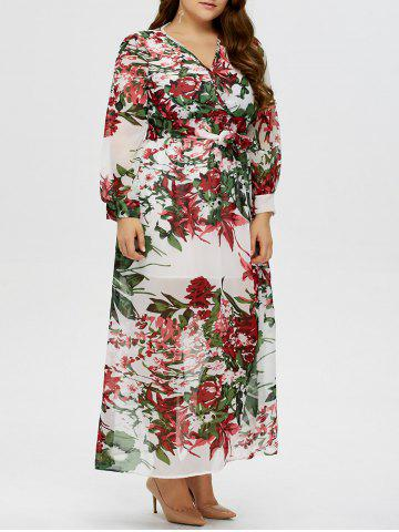 Floral Plus Size V Neck Maxi Dress with Sleeves - White - L