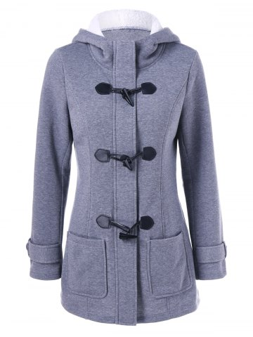 Cheap Hooded Duffle Coat with Pockets
