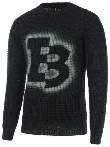 Outfit Crew Neck Texture Knitted Graphic Sweater