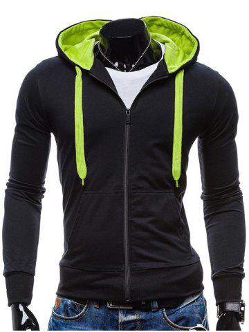 New Pocket Front Drawstring Zip Up Hoodie BLACK 2XL