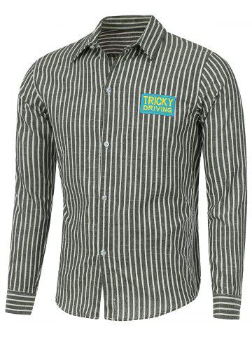 New Patched Pleat Back Striped Linen Shirt