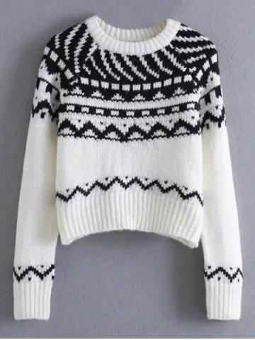 Discount Pullover Crew Neck Tribal Cropped Sweater WHITE/BLACK L