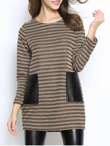 Online Casual Pocket Inset Striped Oversized Sweater