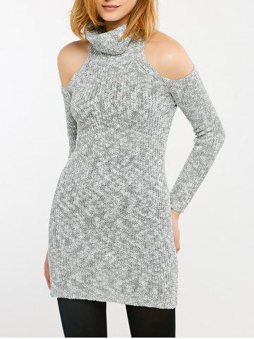 Discount Long Cold Shoulder Turtleneck Tight Sweater GRAY 2XL