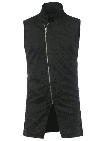Buy Longline Floral Embossed Asymmetrical Zip Waistcoat BLACK 2XL
