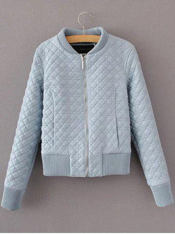 Slim Quilted Fake Leather Bomber Jacket - Light Blue - M
