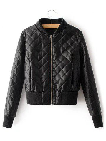 Trendy Quilted Croppd Faux Leather Jacket