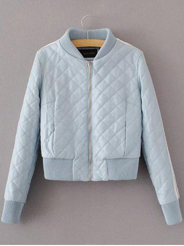 Quilted Croppd Faux Leather Jacket - Light Blue - L