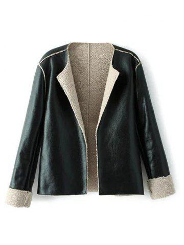 Latest Collarless Faux Shearling Open Front Jacket