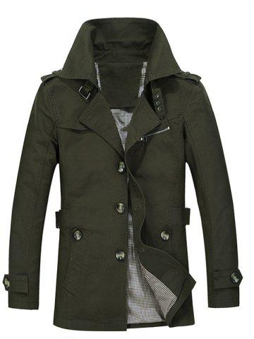 Turndown Collar Single Breasted Epaulet Trench Coat - Army Green - 2xl