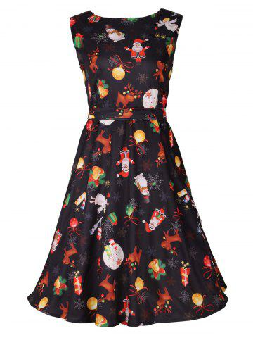 Affordable Christmas Print Sleeveless Skater Party Dress BLACK 2XL