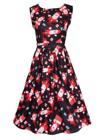 Online Santa Print Sleeveless Flare Dress BLACK 2XL