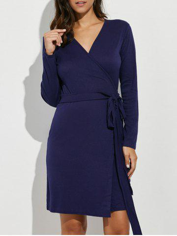 Buy Long Sleeves Tied Belt Wrap Dress