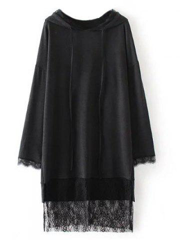 New Lace Insert Hooded Dress BLACK S