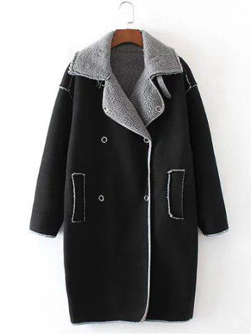 Latest Faux Shearling Panel Suede Cocoon Coat - S BLACK Mobile