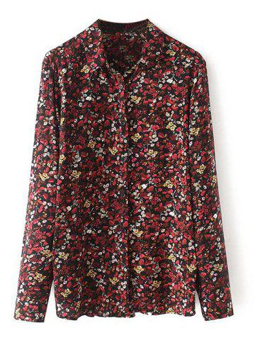 Discount Long Sleeves Flower Print Shirt FLORAL M
