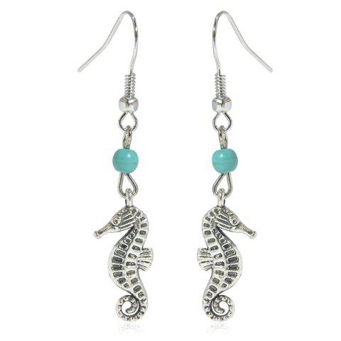 Artificial Turquoise Sea Horse Earrings - Silver - W16 Inch * L24 Inch