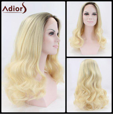 Trendy Adiors Long Fluffy Wavy Colormix Lace Front Synthetic Wig