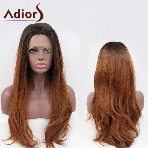 Cheap Adiors Long Color Mixed Slightly Curled Lace Front Synthetic Wig