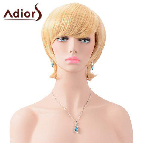 Trendy Adiors Short Oblique Bang Silky Straight Synthetic Wig