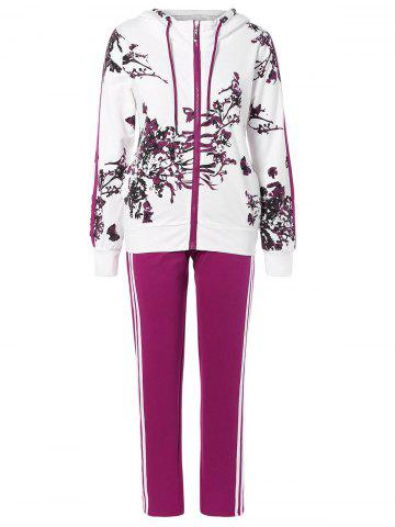 Buy Floral Print Jacket and Striped Pants Twinset PURPLISH RED 3XL