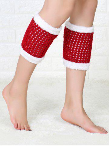 Hollow Out Crochet Christmas Fluffy Boot Cuffs - Red - L