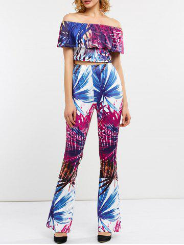 Store Tropical Print Cropped Top with Flared Pants