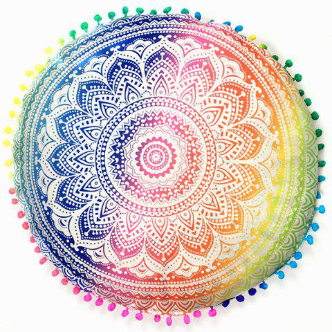 Online Sofa Mandala Flower Print Pompon Round Throw Covers COLORFUL ONE SIZE