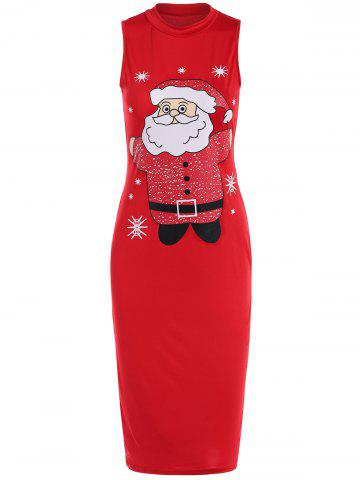 Shops Sleeveless Santa Clause Print Midi Tank Dress RED XL
