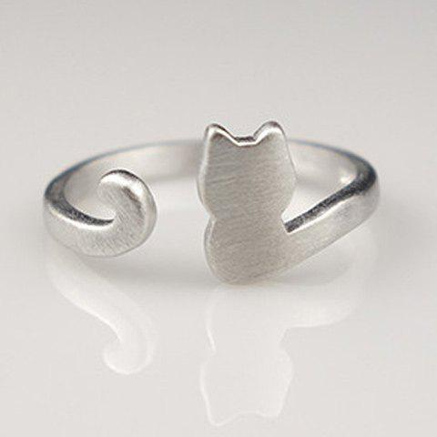 Fancy Cat Shape Cuff Ring SILVER