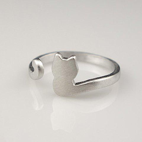 Buy Cat Shape Cuff Ring - SILVER  Mobile